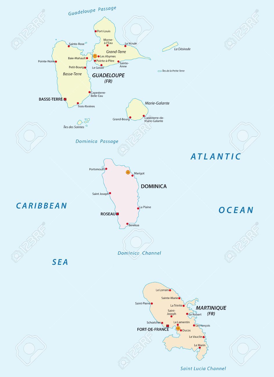 Guadeloupe Dominica And Martinique Map Royalty Free Cliparts