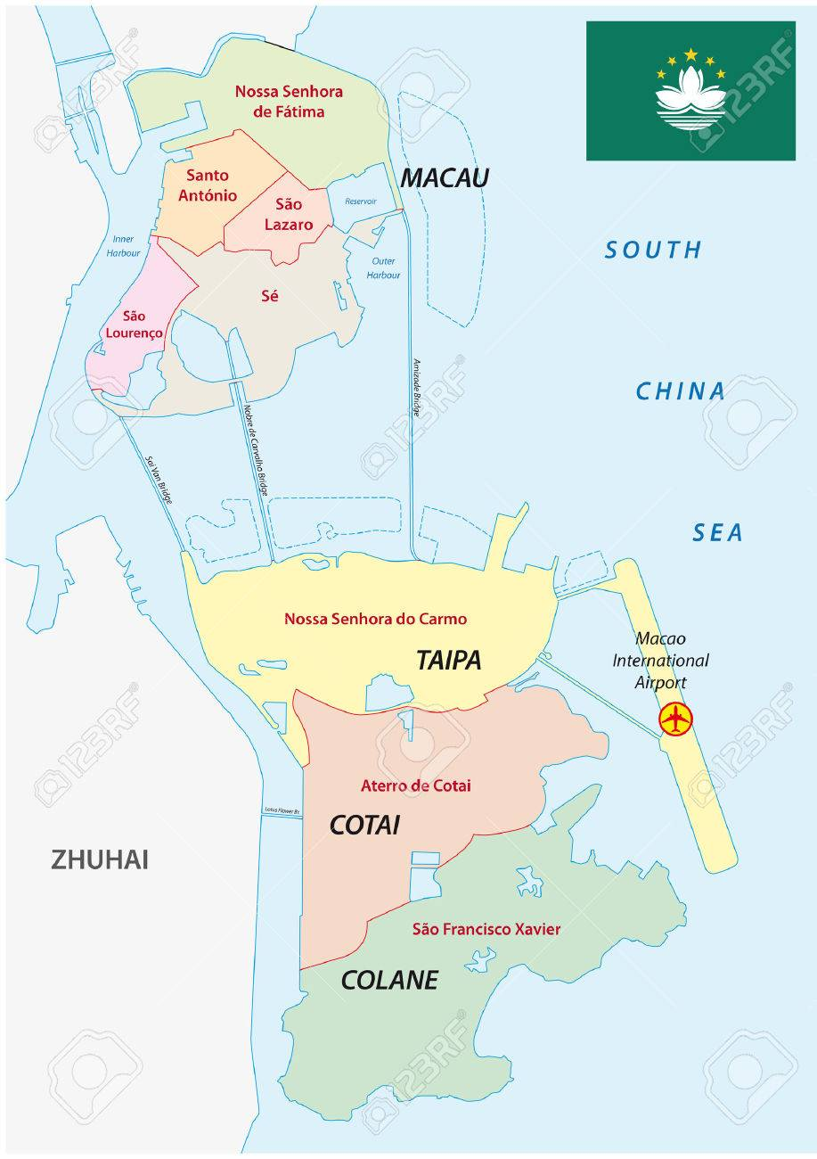 Macau Administrative Map With Flag Royalty Free Cliparts Vectors