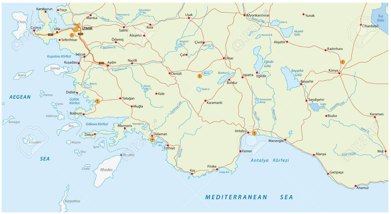 Türkische Riviera Karte.Stock Photo