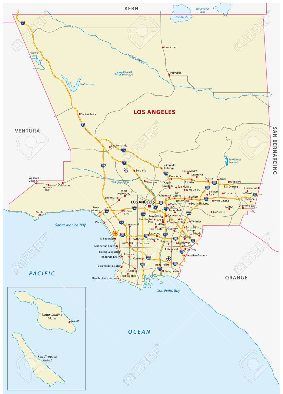 Los Angeles County Map Royalty Free Cliparts Vectors And Stock
