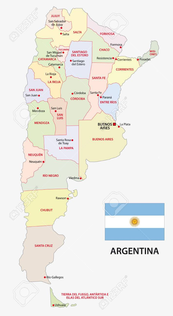 Argentina Administrative Map With Flag Royalty Free Cliparts