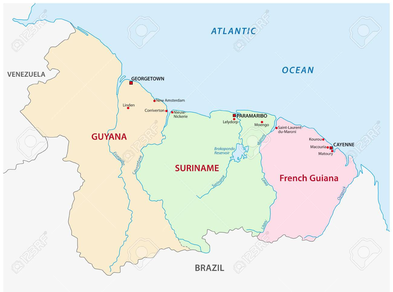 Guyana Suriname And French Guiana Map Royalty Free Cliparts - Map of french guiana world