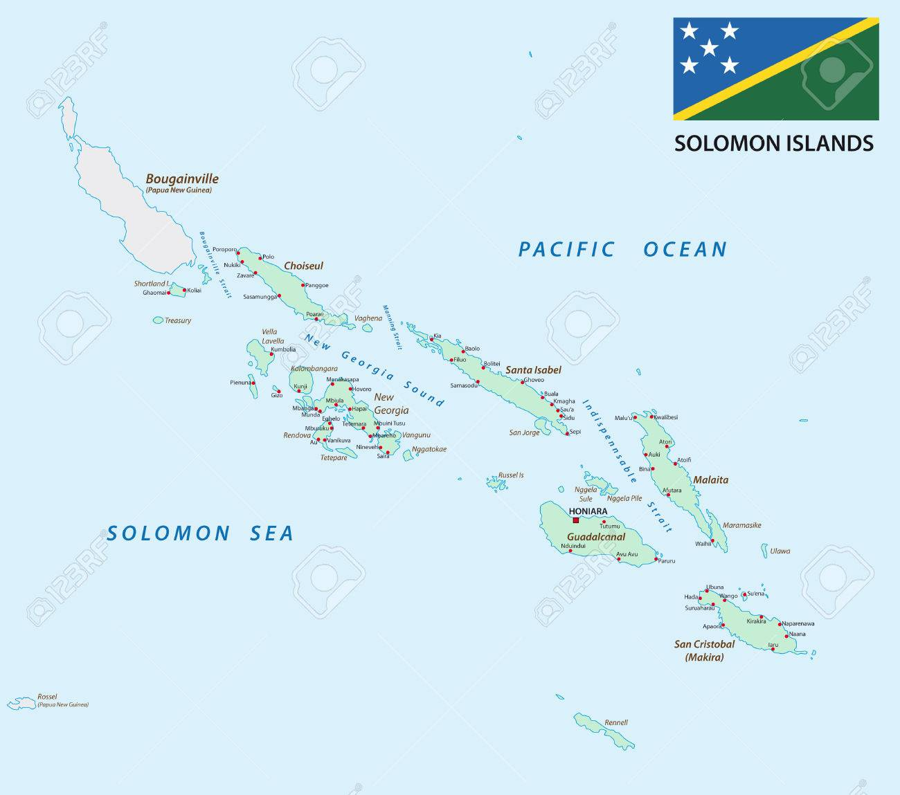 Solomon Islands Map With Flag Royalty Free Cliparts Vectors And - Solomon islands map