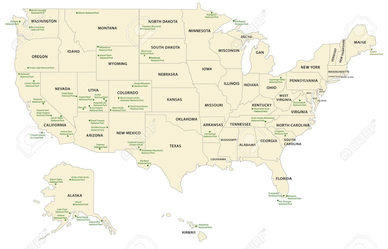 National Park Map USA Royalty Free Cliparts, Vectors, And Stock ...