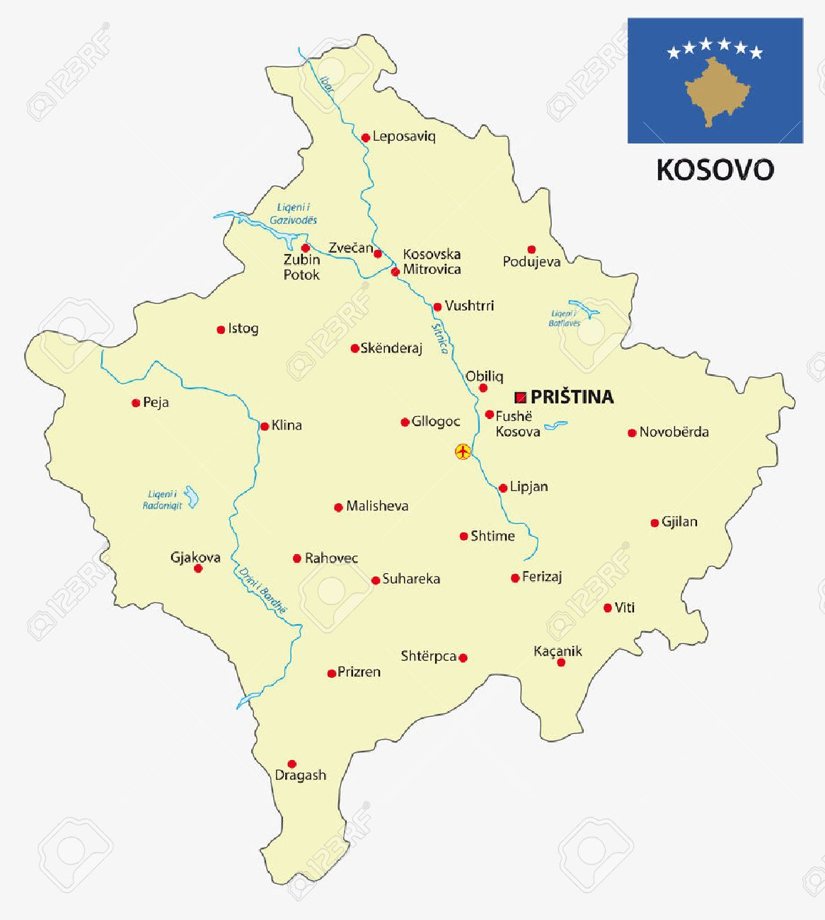 Kosovo Map With Flag Royalty Free Cliparts Vectors And Stock