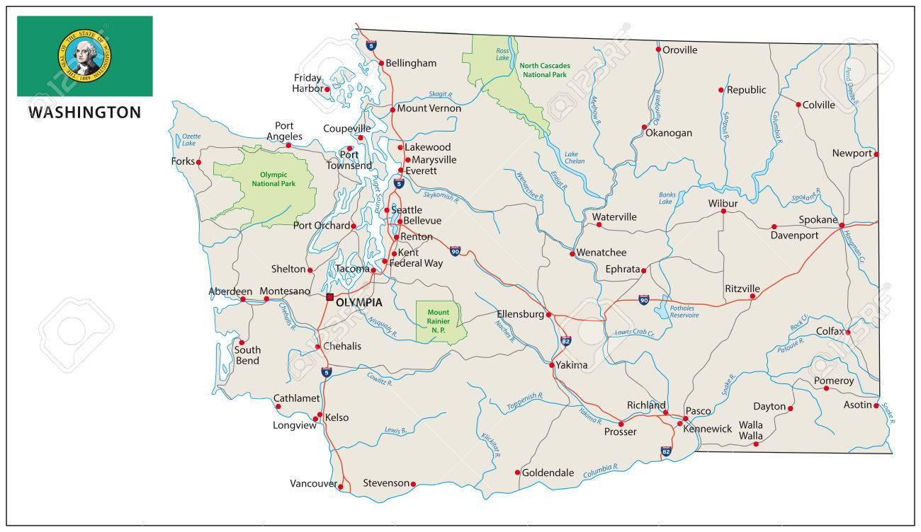 Washington road map with flag - 39589248
