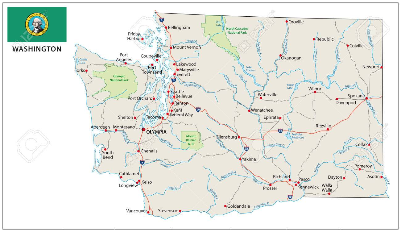 Picture of: Washington Road Map With Flag Royalty Free Cliparts Vectors And Stock Illustration Image 39589248