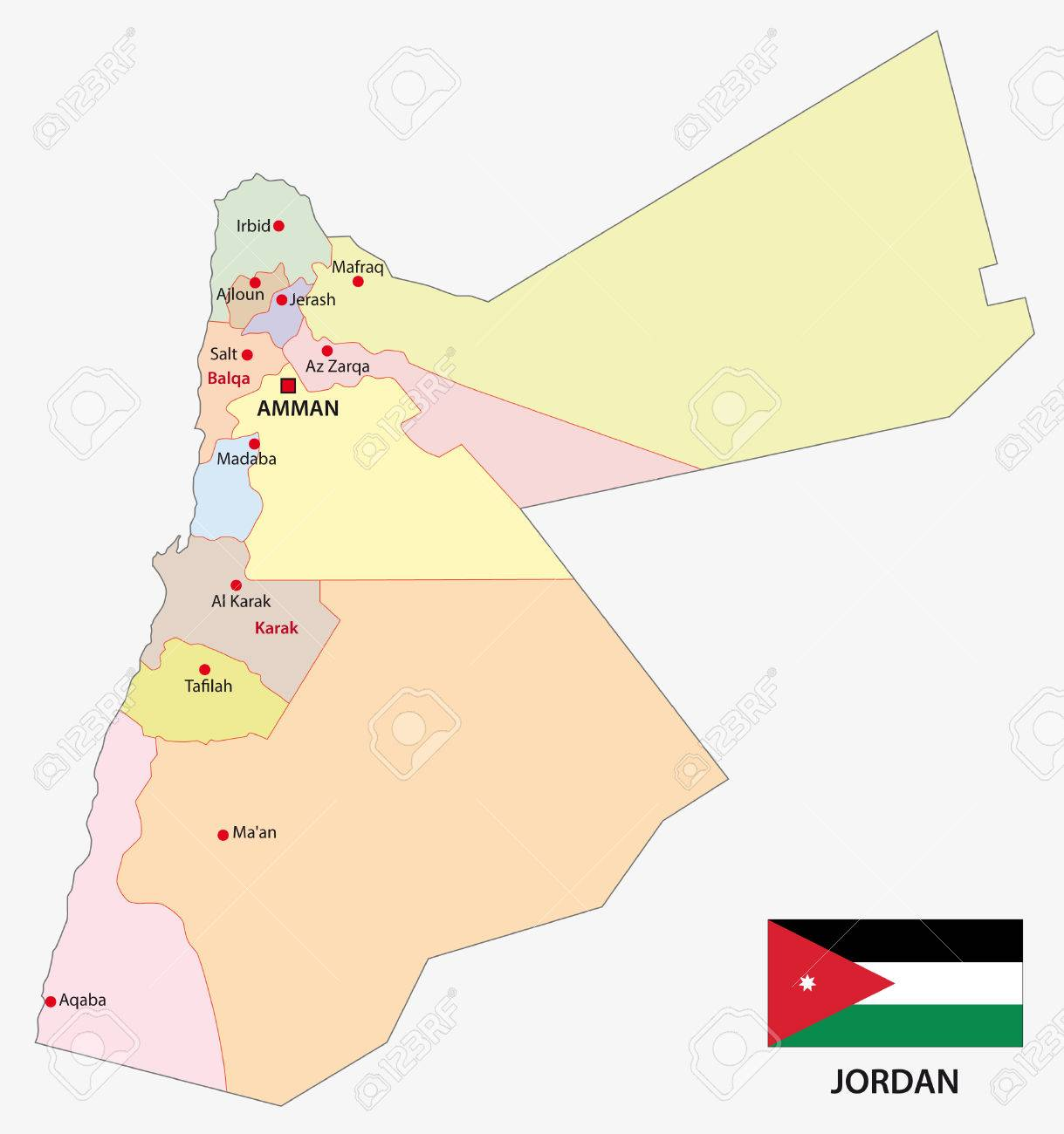 Jordan Administrative Map With Flag Royalty Free Cliparts Vectors