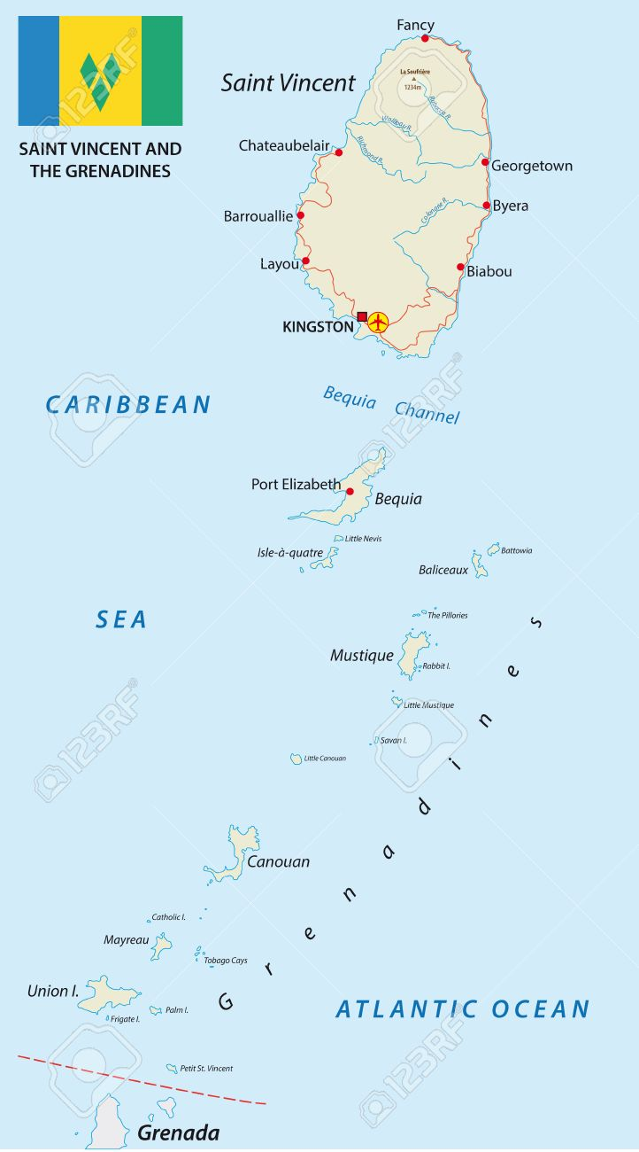 Saint Vincent And The Grenadines Map With Flag Royalty Free Cliparts