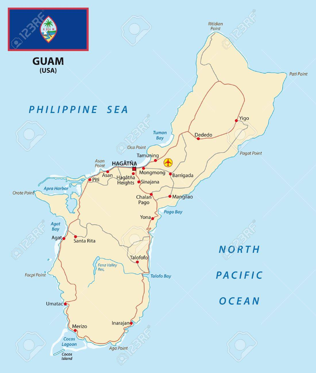 Guam Map With Flag Royalty Free Cliparts Vectors And Stock - Guam map