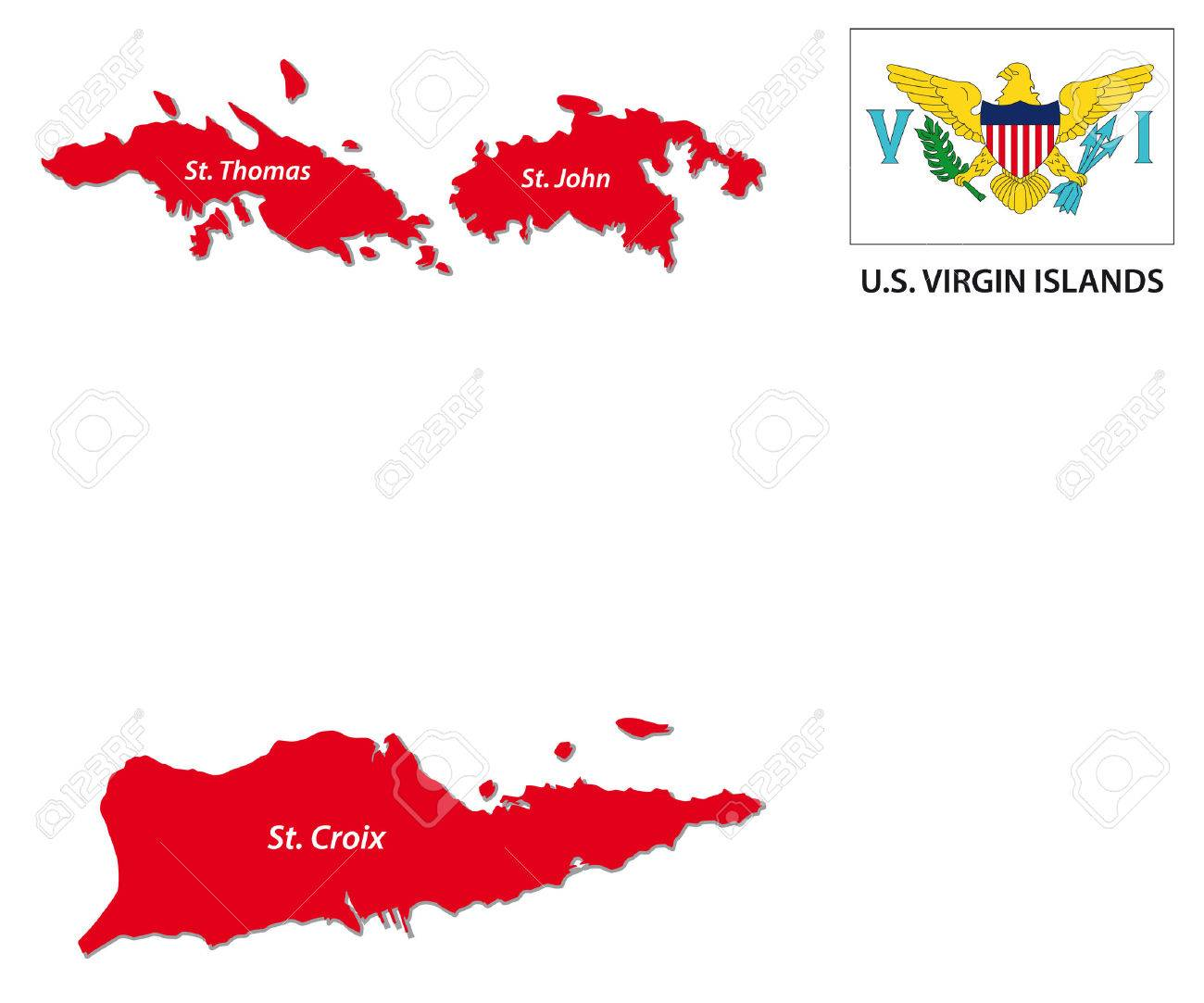 US Virgin Islands Map With Flag Royalty Free Cliparts, Vectors, And ...