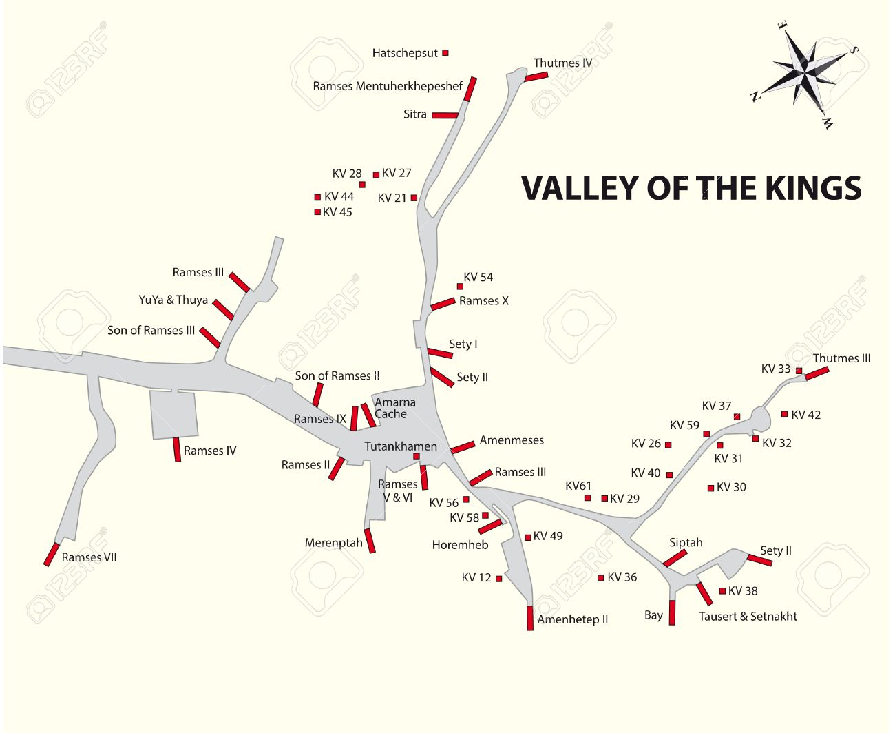 Valley Of The Kings Map Egypt Royalty Free Cliparts Vectors And - Map of egypt showing valley of the kings