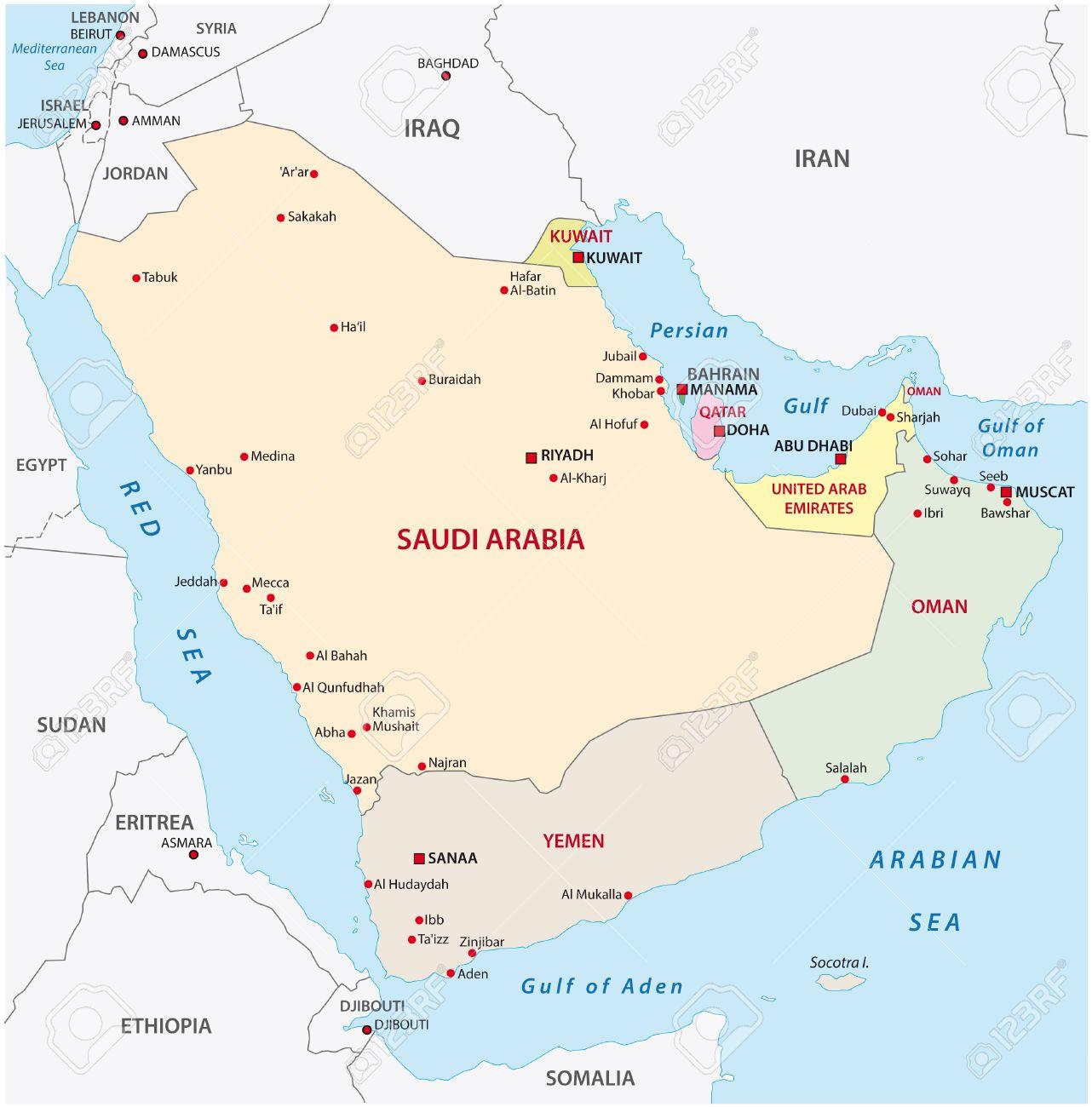 Arabian Peninsula Map, Royalty Free Cliparts, Vectors, And Stock ...