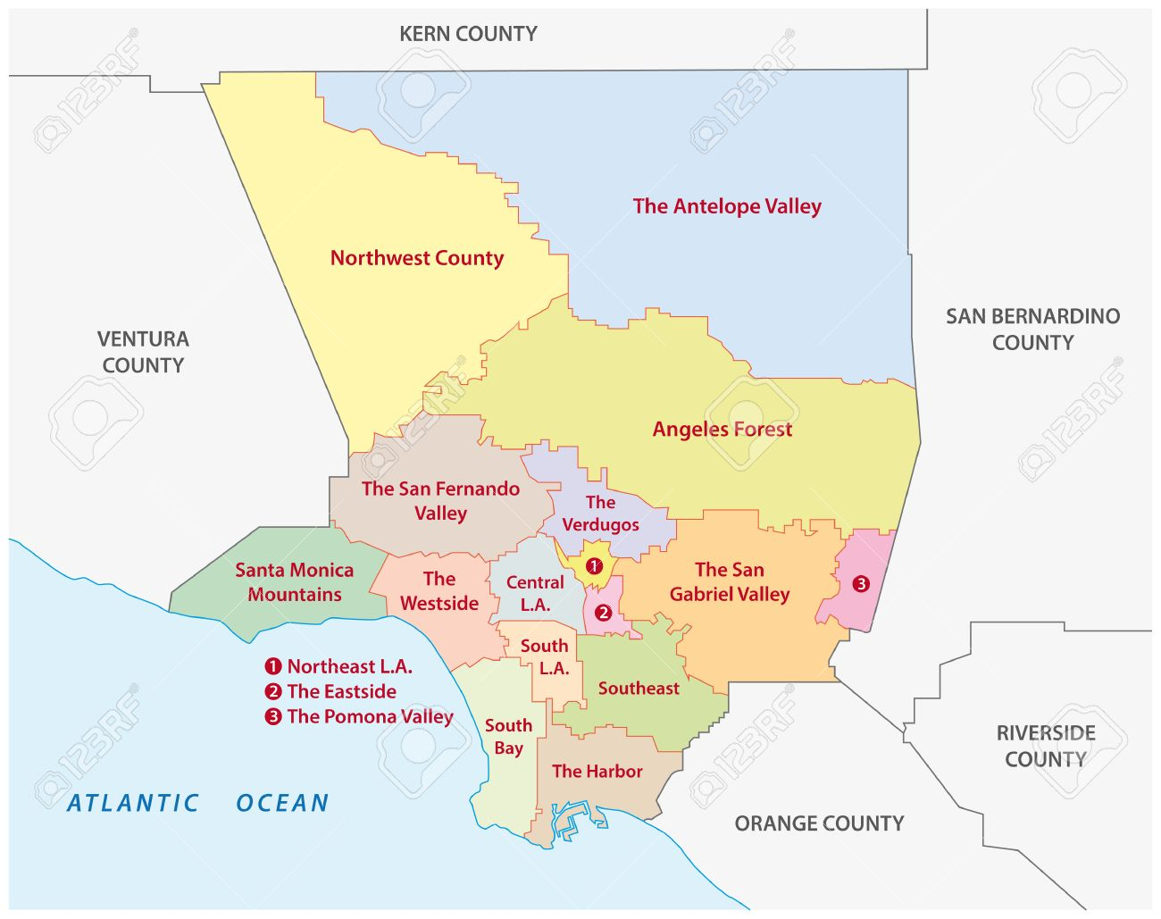 Los Angeles County Administrative Map Royalty Free Cliparts - Los angeles ventura map