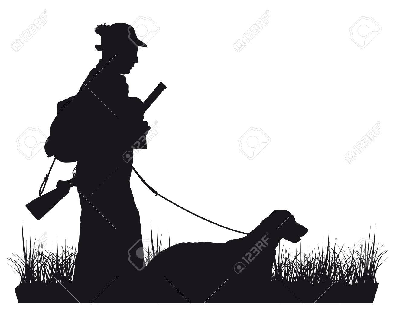 black and white silhouette Hunter with dog - 43834219