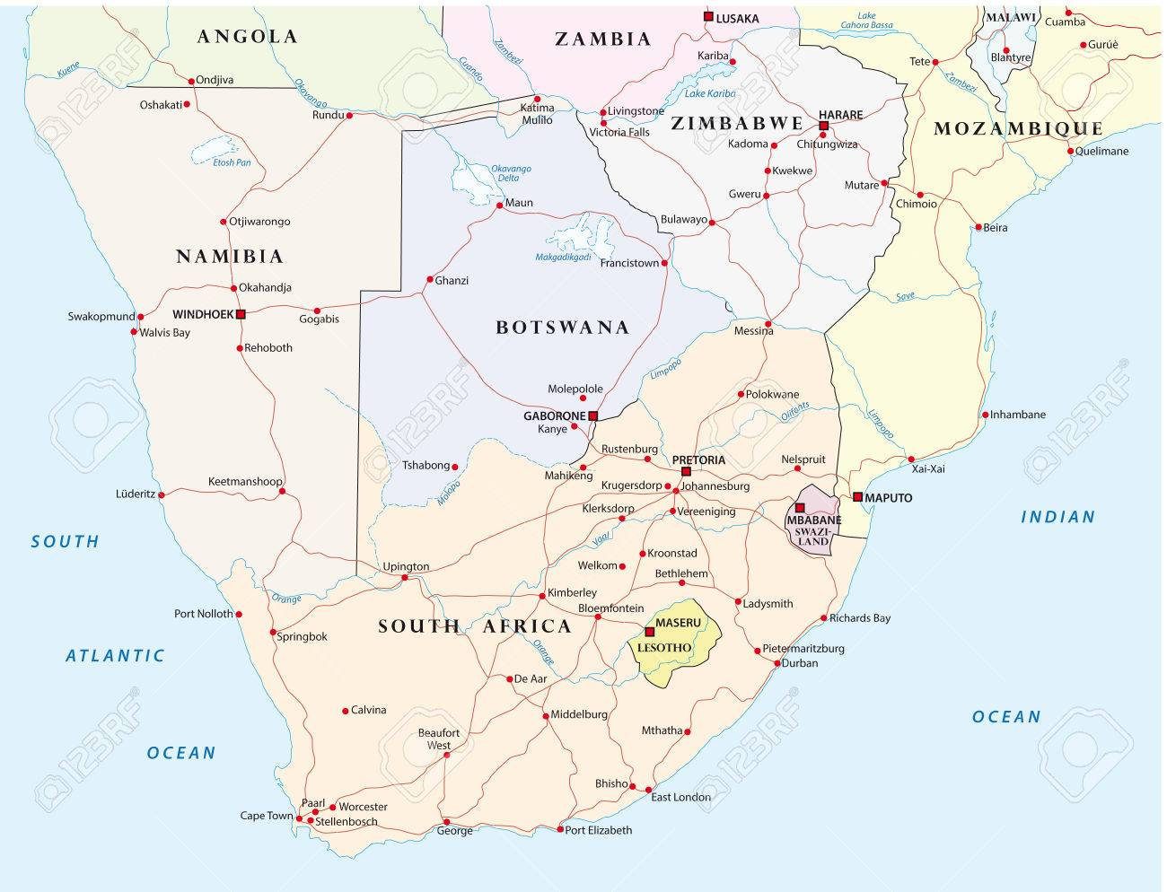 Maps South Africa.Road Map Of Southern Africa