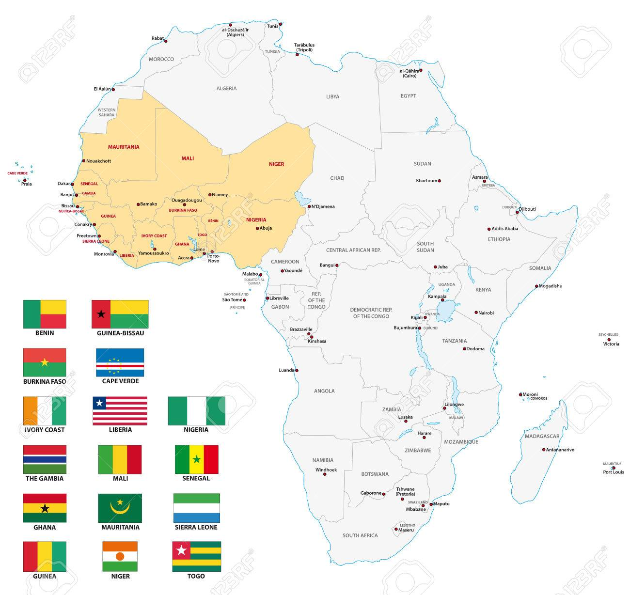 Map Western Africa.Western Africa Map With Flags
