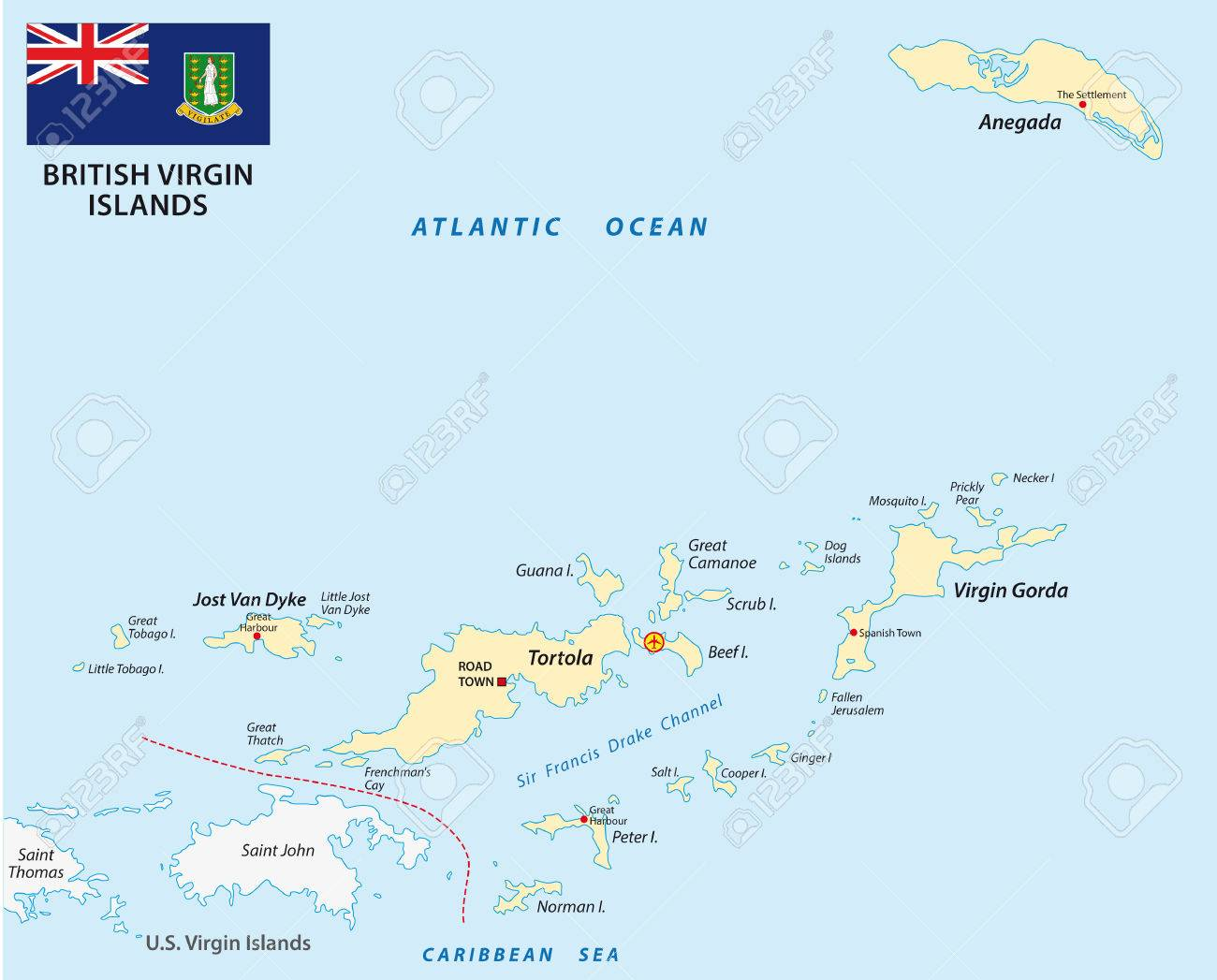 british virgin islands map with flag stock vector 45251730