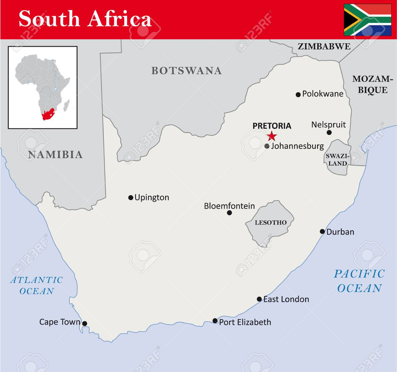Simple Outline Map Of South Africa Royalty Free Cliparts, Vectors