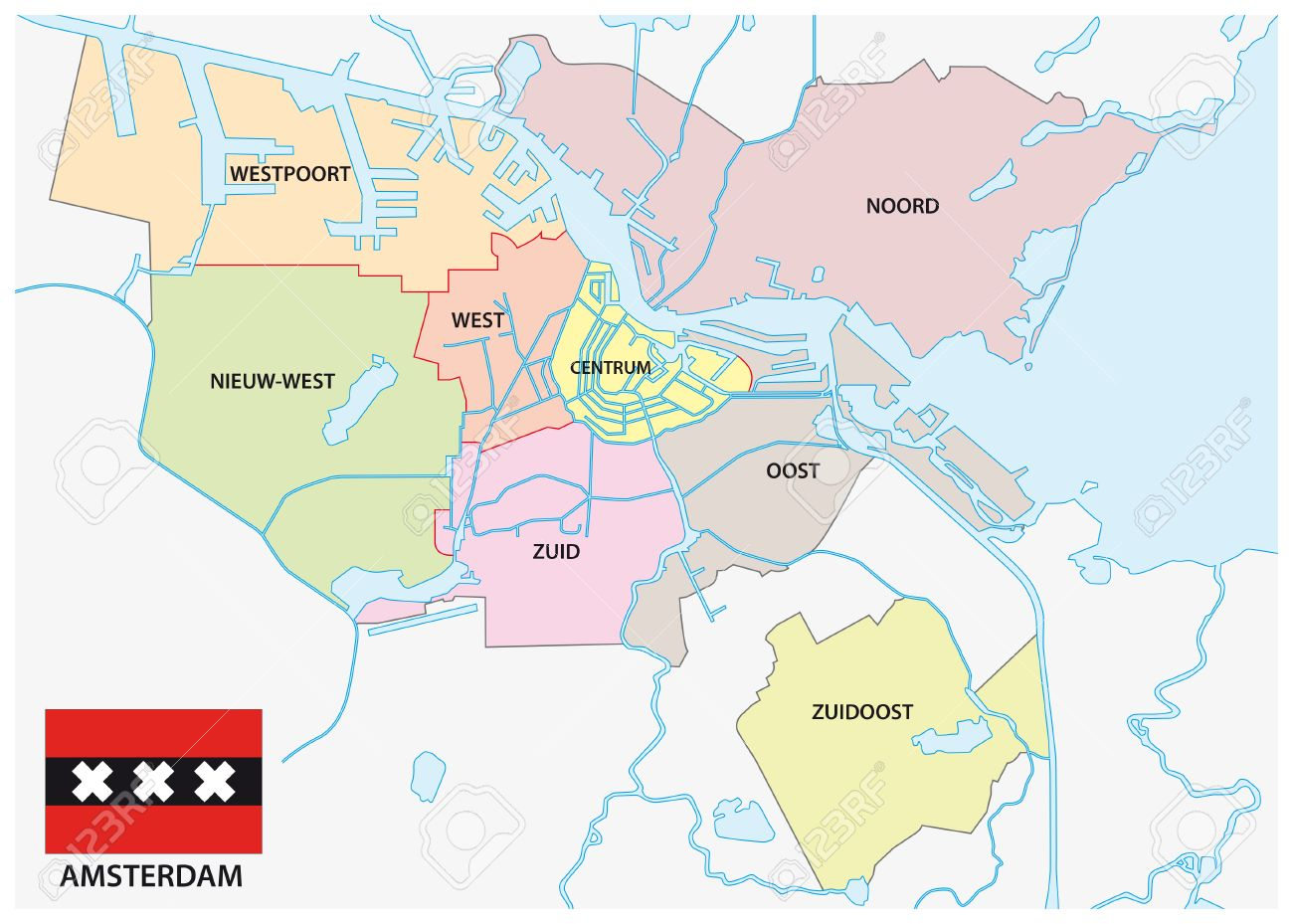 Amsterdam Administrative Map With Flag Royalty Free Cliparts ...