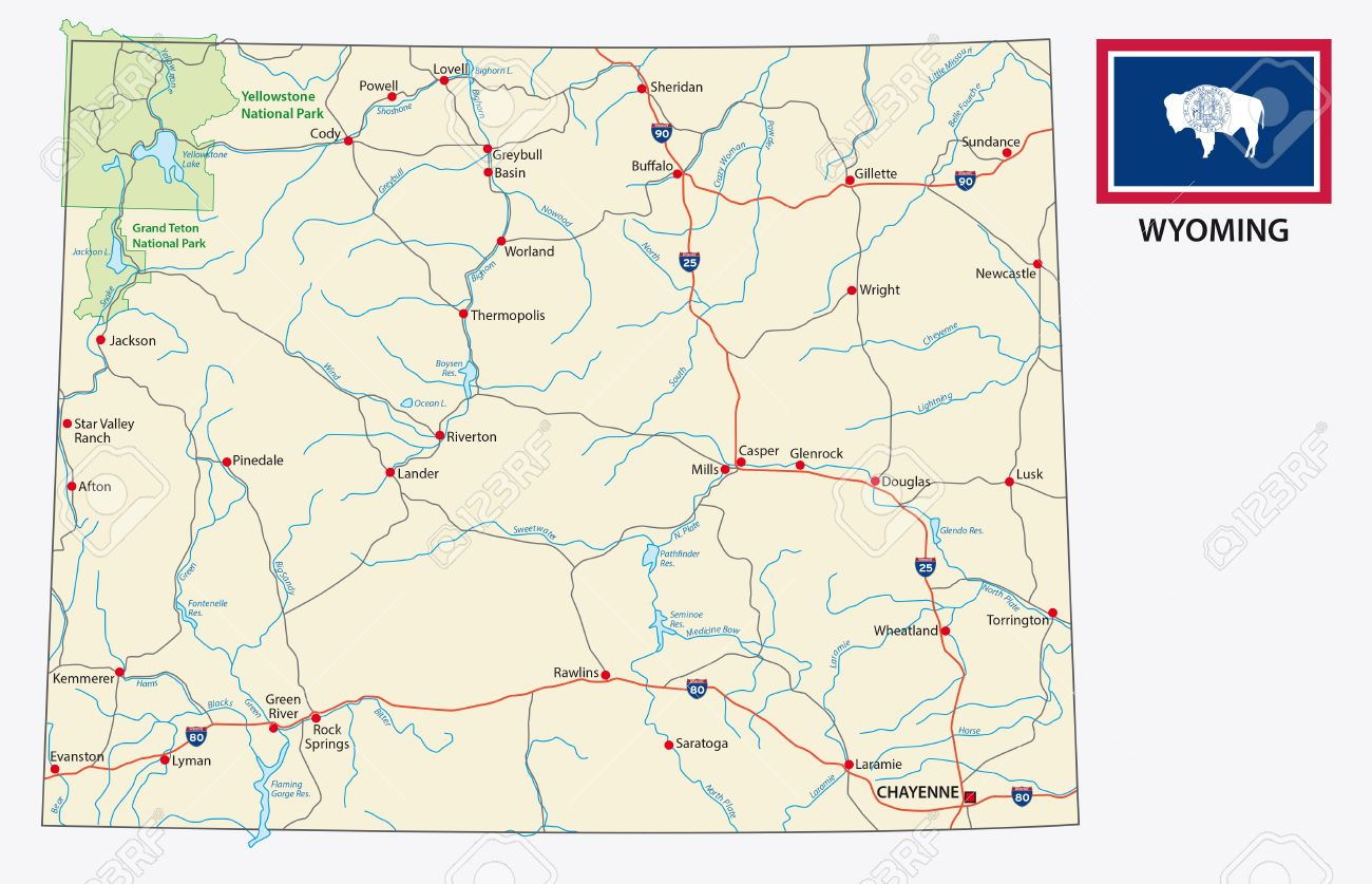 Wyoming Road Map With Flag Royalty Free Cliparts, Vectors, And Stock ...
