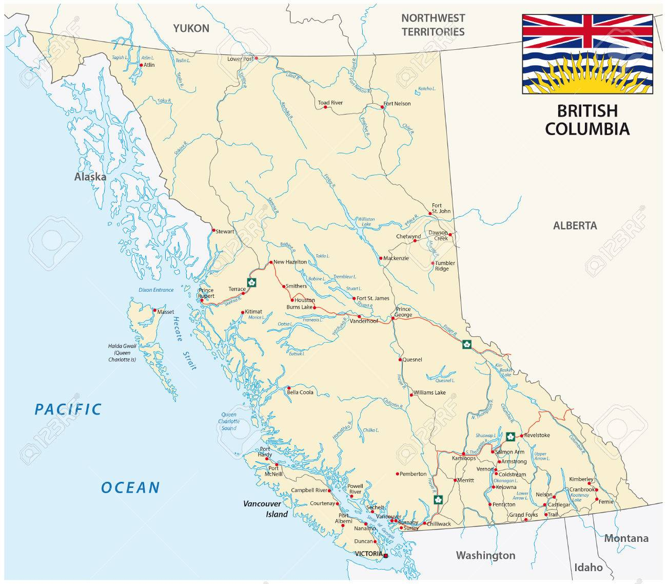 British Columbia Road Map With Flag Royalty Free Cliparts Vectors - British columbia map