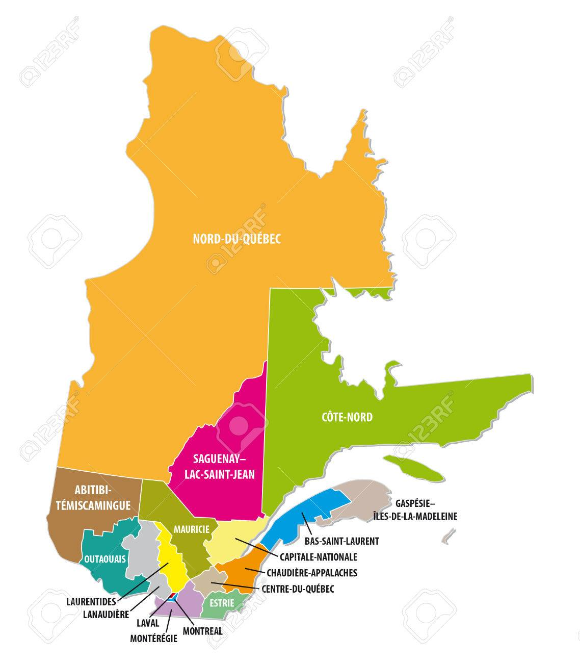 Quebec colorful administrative map royalty free cliparts vectors quebec colorful administrative map stock vector 46711924 gumiabroncs Image collections