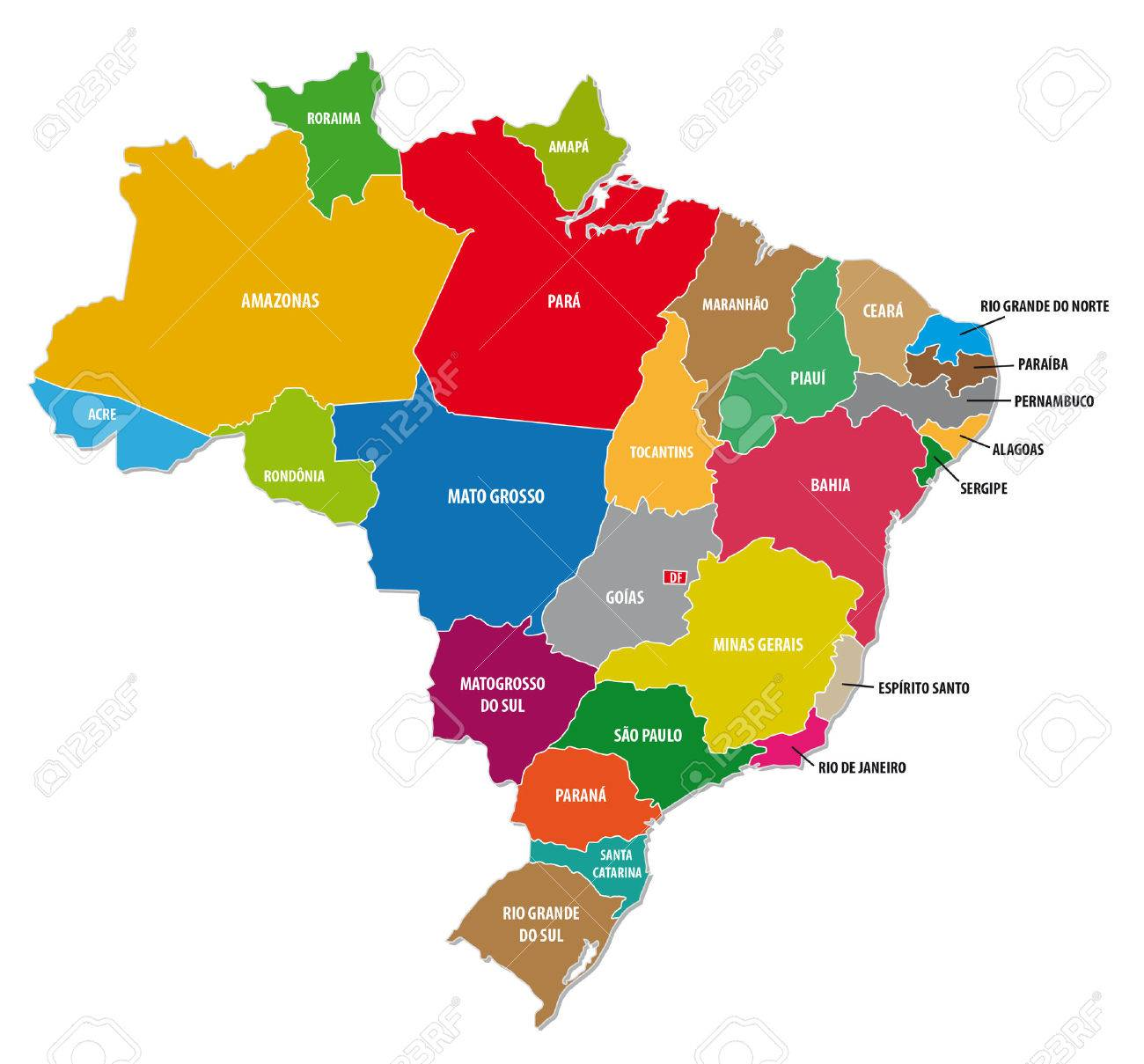 Brazil Colorful Administrative Map Royalty Free Cliparts Vectors