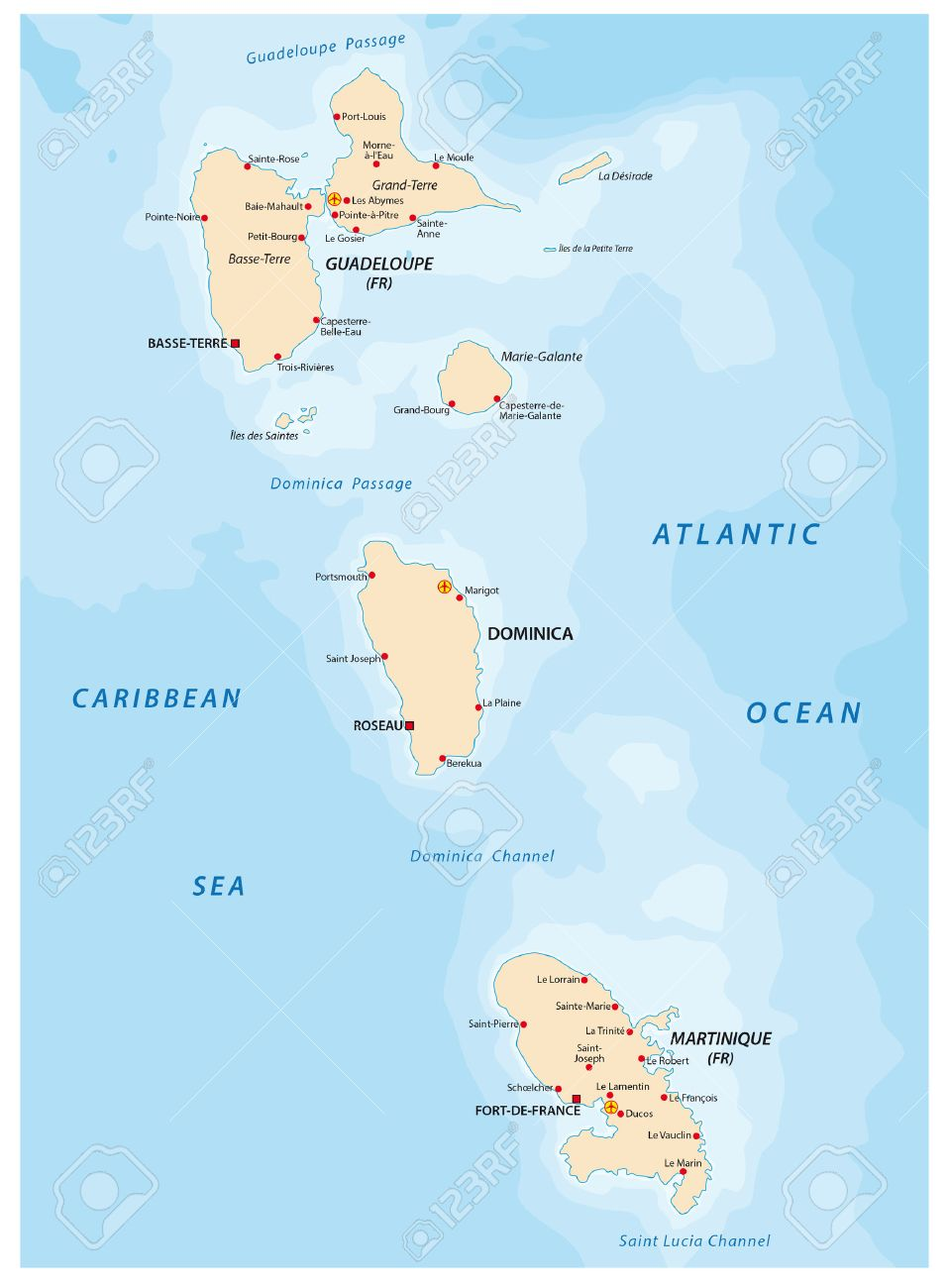 Guadeloupe And Martinique Dominica Map Royalty Free Cliparts