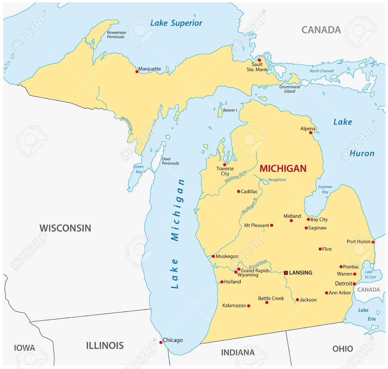 Simple Michigan State Map Royalty Free Cliparts Vectors And - Mi state map