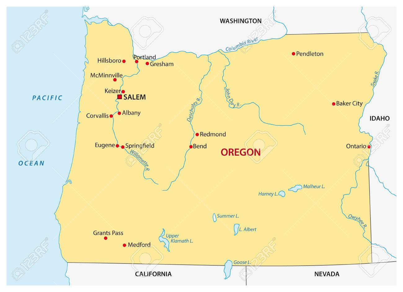 Simple Oregon State Map Royalty Free Cliparts, Vectors, And Stock