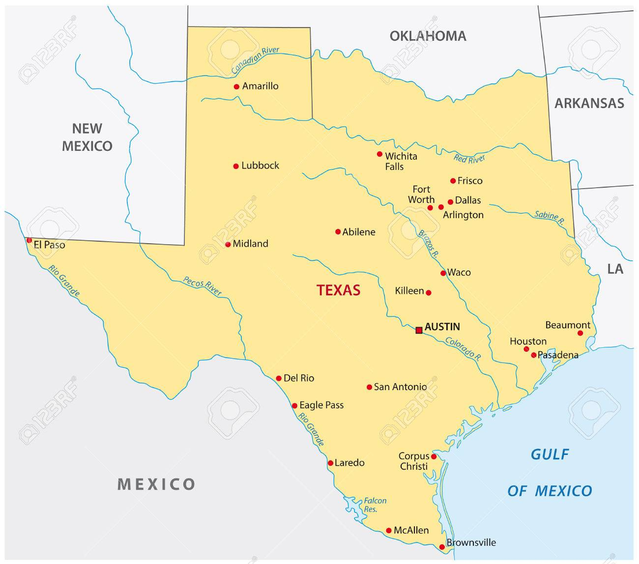 Simple Texas State Map Royalty Free Cliparts, Vectors, And Stock