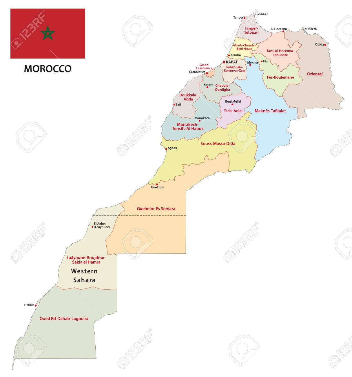 Morocco Administrative Map With Flag Royalty Free