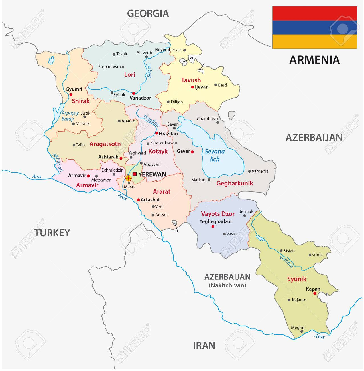 Armenia Administrative Map With Flag Royalty Free Cliparts Vectors