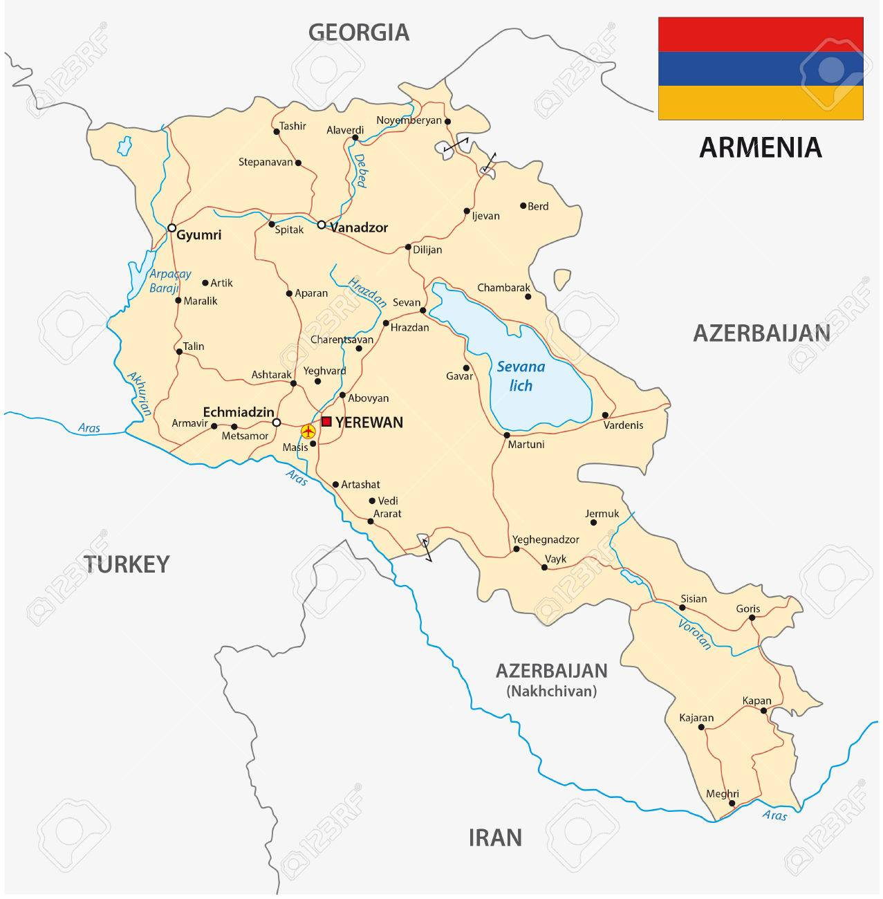 Armenia Road Map With Flag Royalty Free Cliparts Vectors And Stock