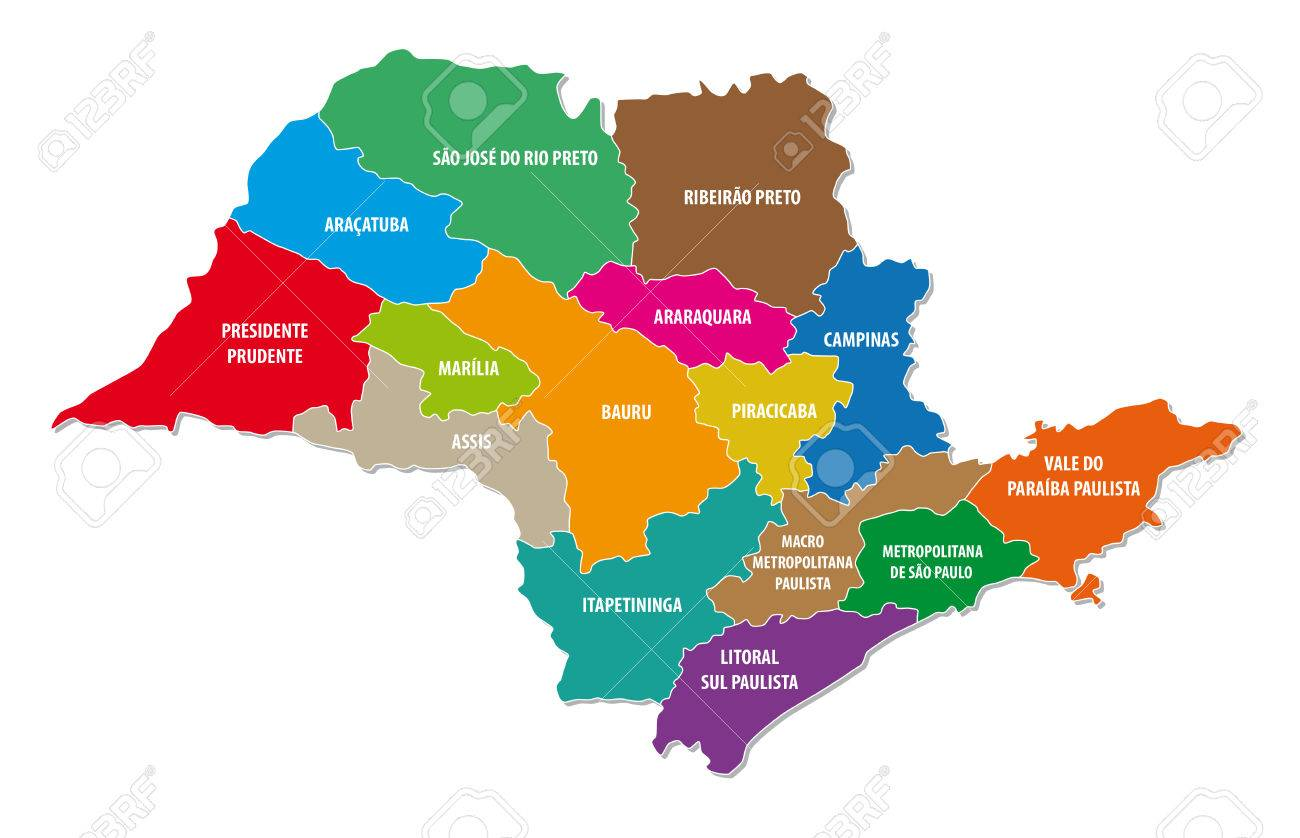 Sao Paulo State Map.Sao Paulo State Administrative Colorful Map Royalty Free Cliparts