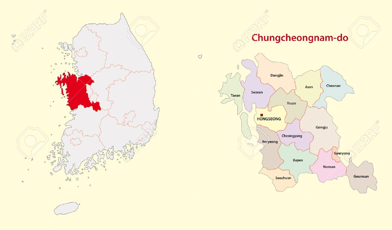 South Korea North Chungcheong Province Map South Royalty Free ...