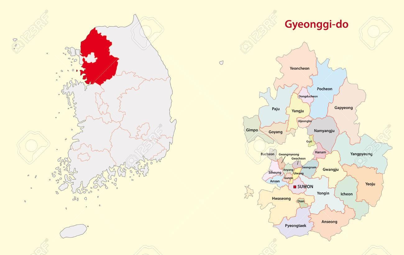 Gyeonggi Province Map South Korea Royalty Free Cliparts Vectors