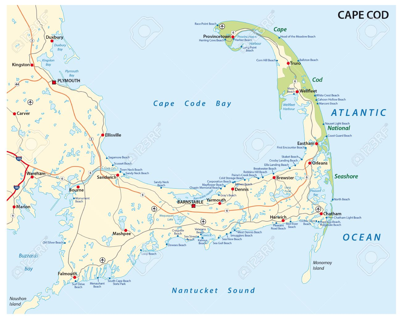 Cape Cod Road And Beach Map Royalty Free Cliparts, Vectors, And ...