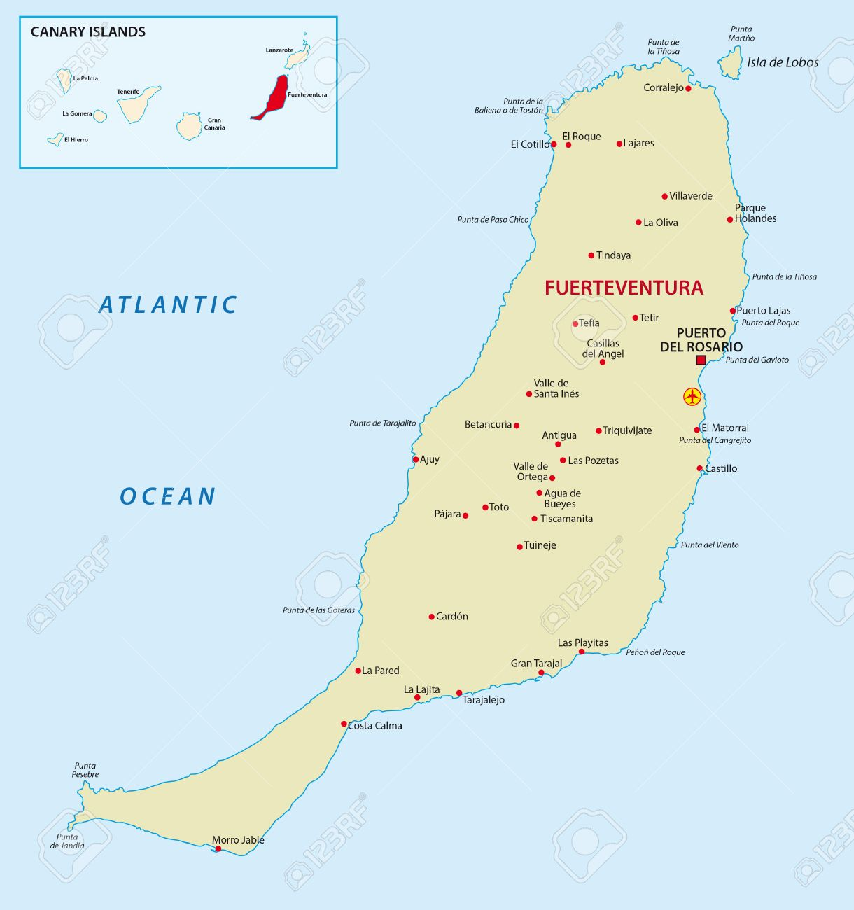 Fuerteventura With Overview Map Royalty Free Cliparts Vectors And