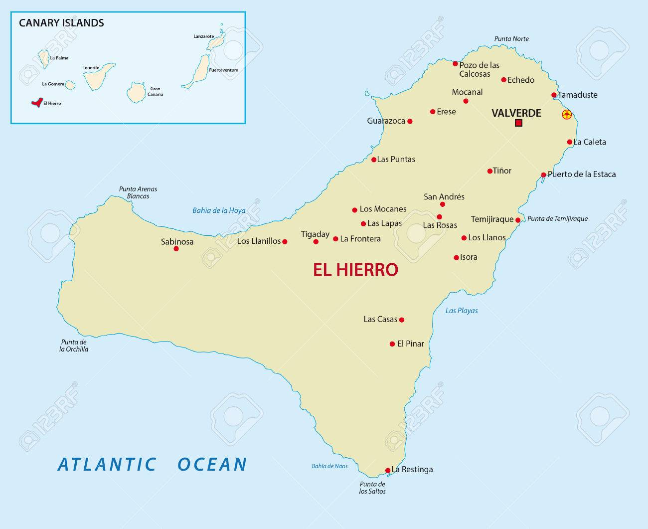El Hierro With Overview Map Royalty Free Cliparts Vectors And