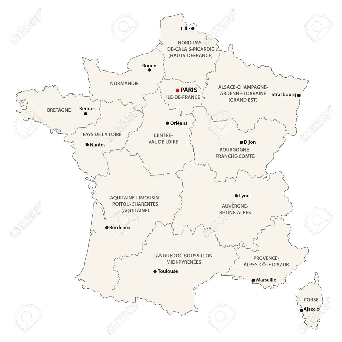 Map Of France New Regions.The New Regions Of France Since Map