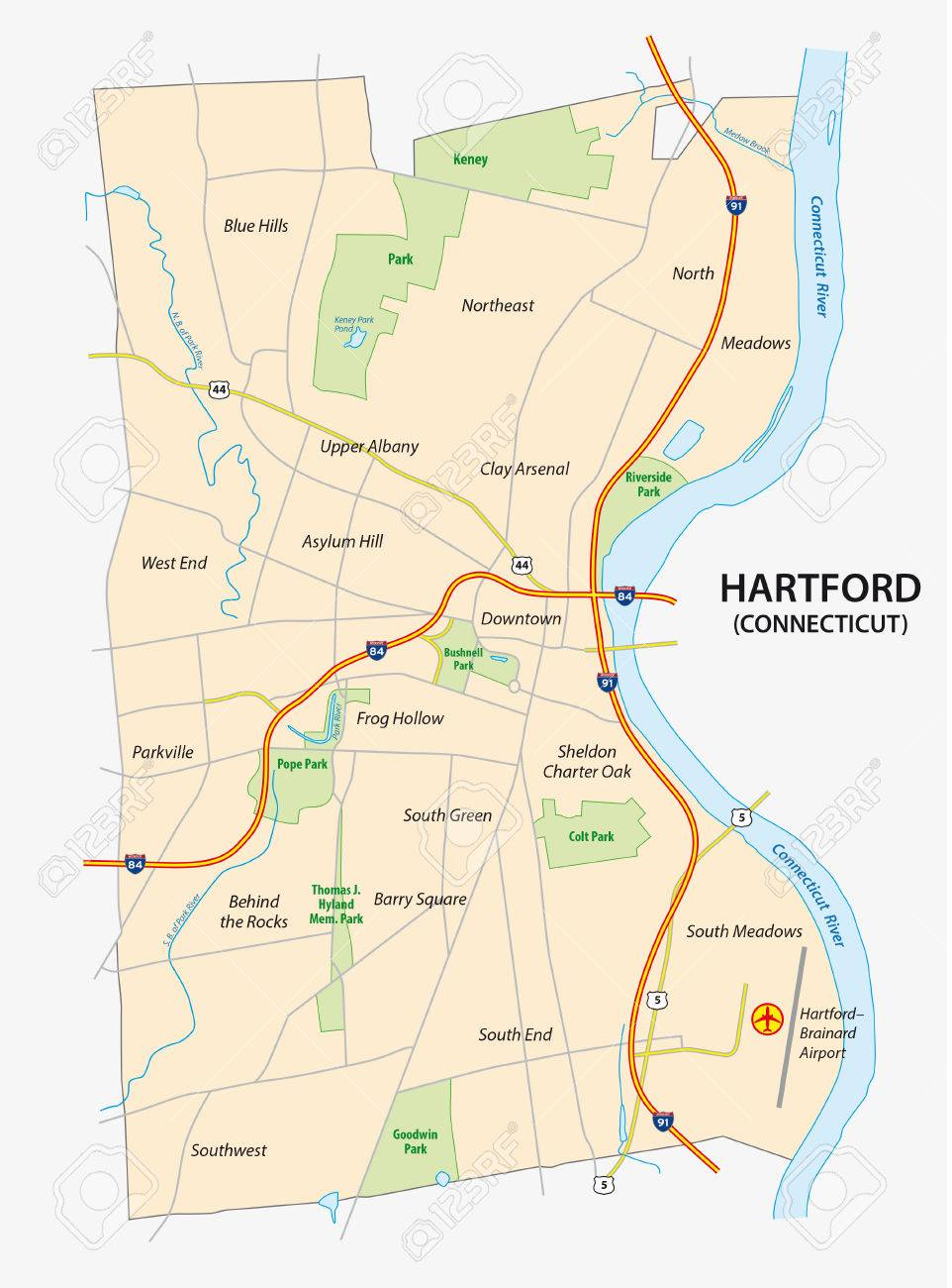Road Map Of Hartford The Capital Of The Us State Of Connecticut - Connecticut-in-us-map