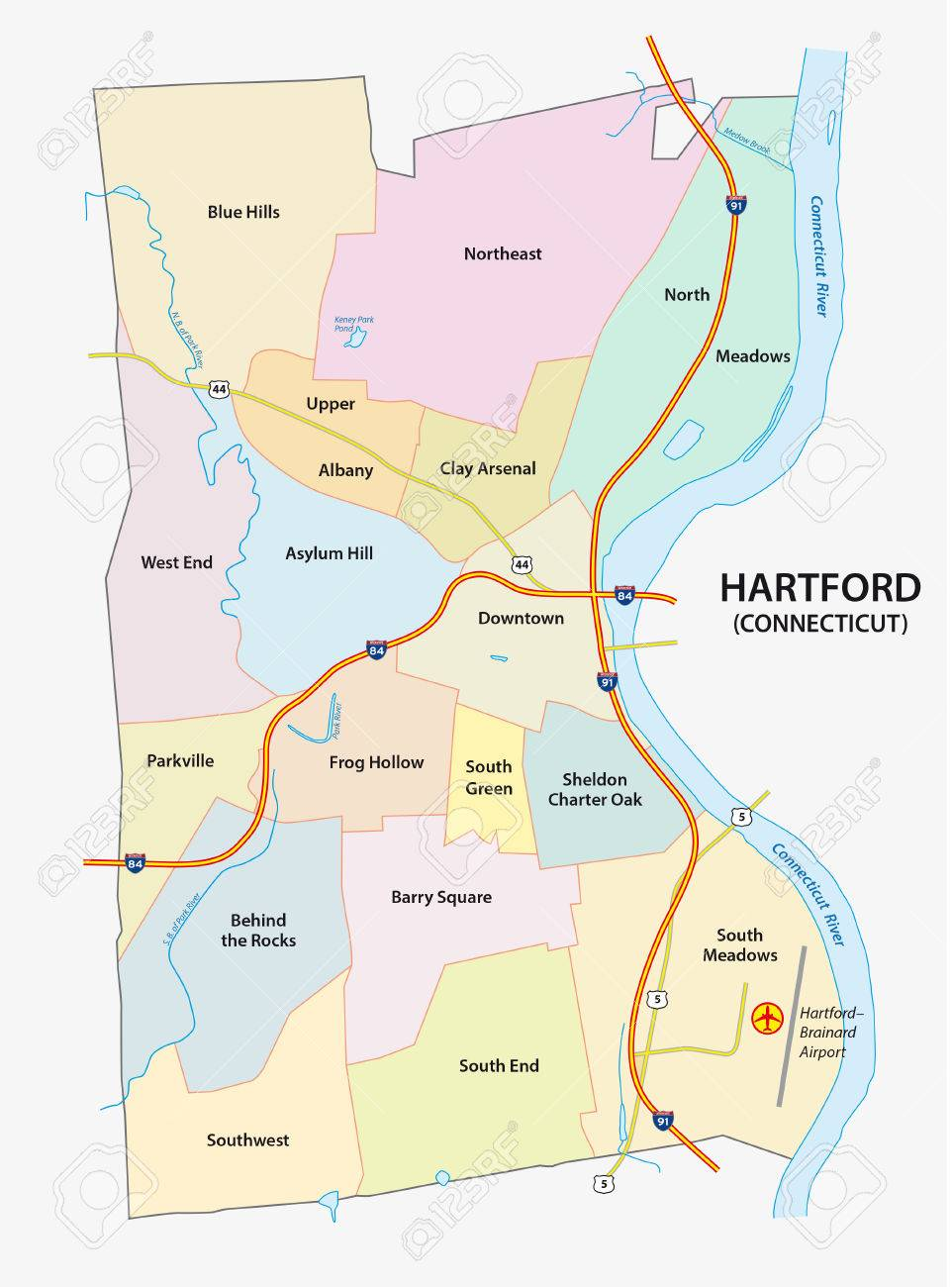 nighborhood map of Hartford, the capital of the US State of Connecticut