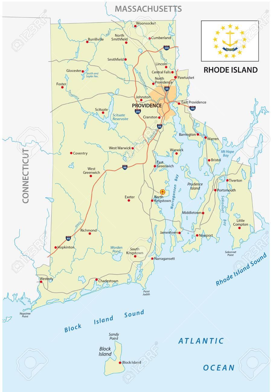 旗のロードアイランド州道路地図...