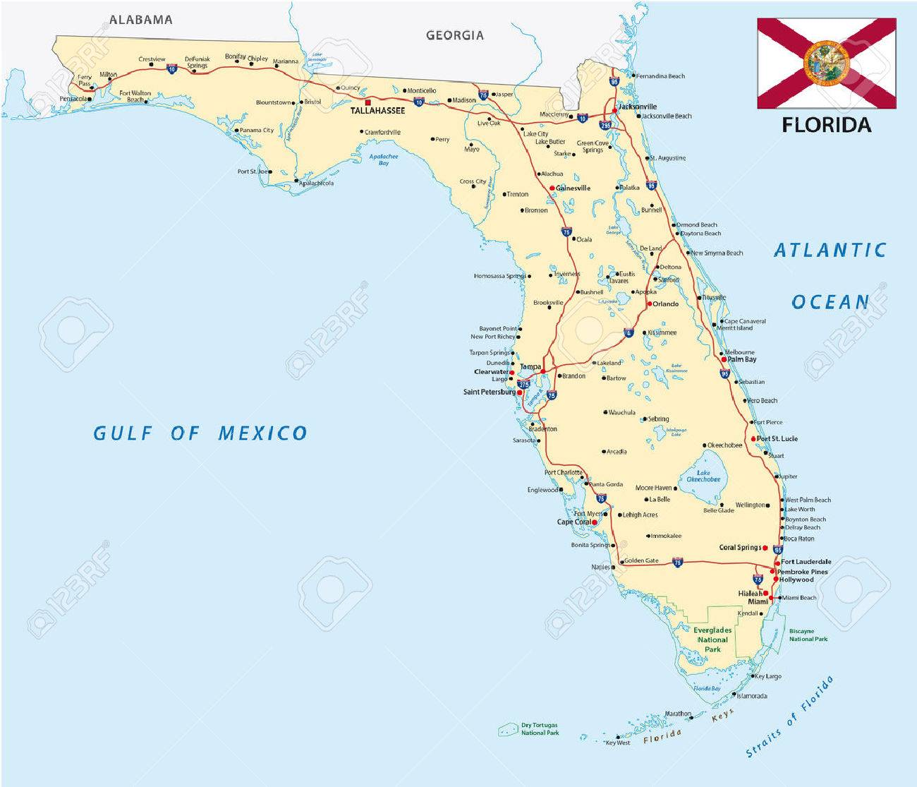 Map Of Arcadia Florida.Florida Road Map With Flag Royalty Free Cliparts Vectors And Stock