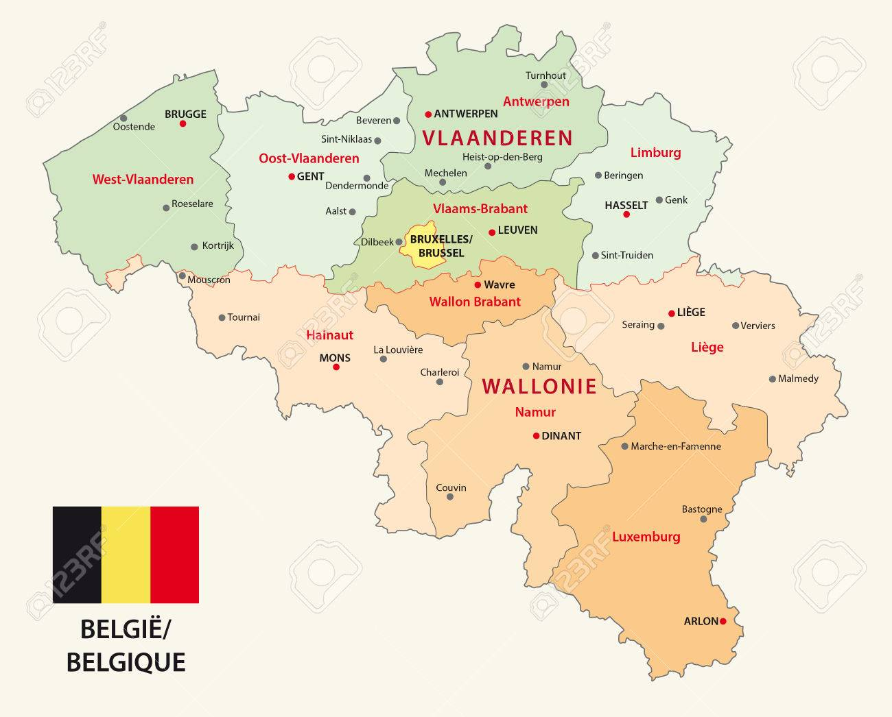 Belgium Administrative Map With Flag Royalty Free Cliparts Vectors