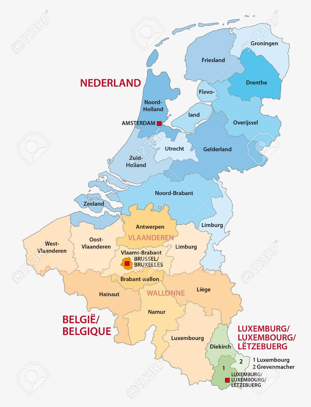 administrative map of the three benelux countries netherlands belgium luxembourg stock vector 51580752