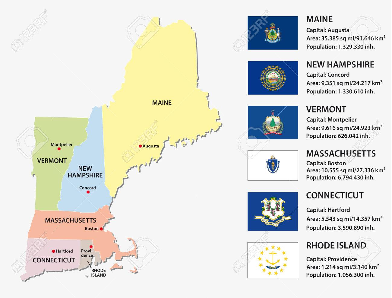 New England States Map With Flags Royalty Free Cliparts, Vectors ...