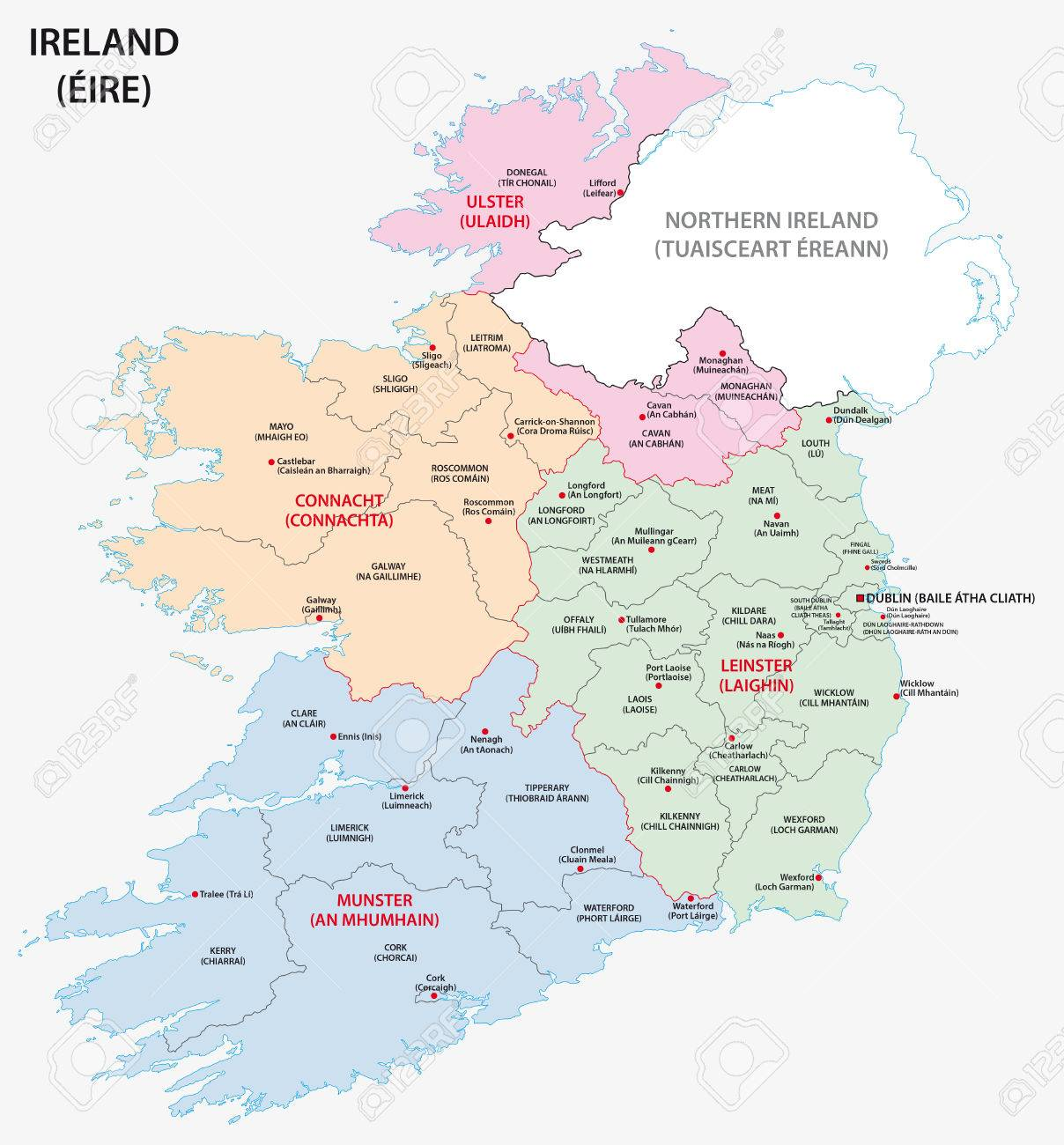 Map Of Ireland Administrative Divisions On Counties Level Royalty